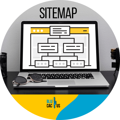 Blucactus - Create and submit a sitemap - A sitemap in a laptop