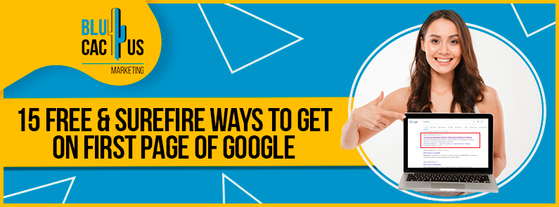 Blucactus - 15 free and surefire ways to get on the first page of google banner